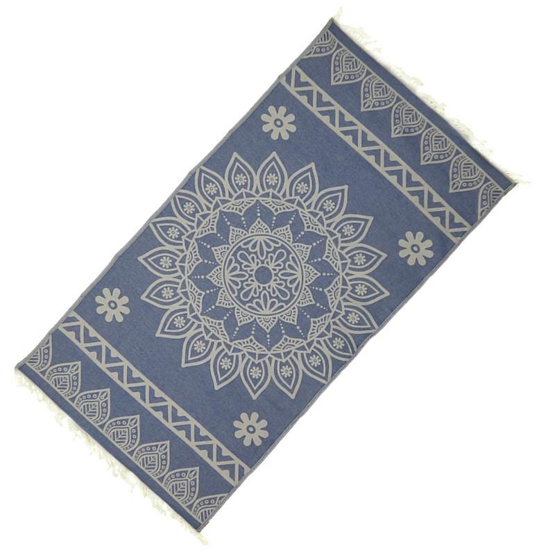 "Strandtuch ""Cala Pada"" (100 x 190 cm) - Marine Blue - Vorderseite"
