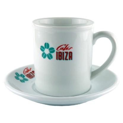 """Bild von Kaffee/Tee-Tasse """"Cafés Ibiza"""" aus weißer Keramik (200 ml)"""