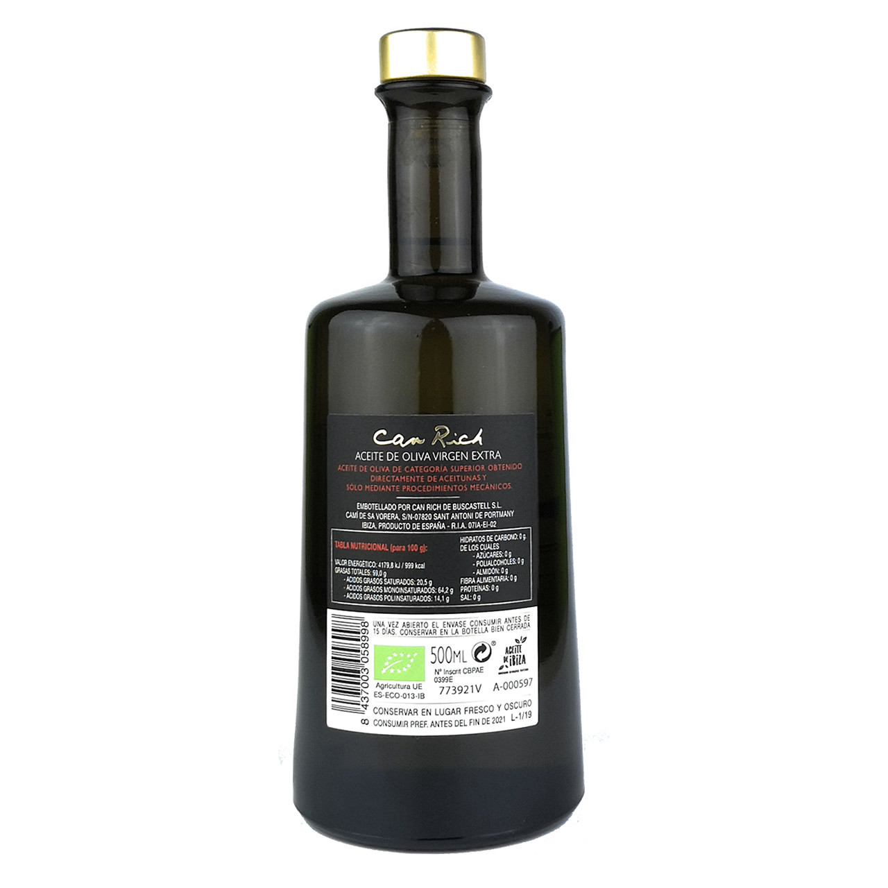 Extra Natives Bio Olivenöl (500 ml) - Can Rich Rücseite