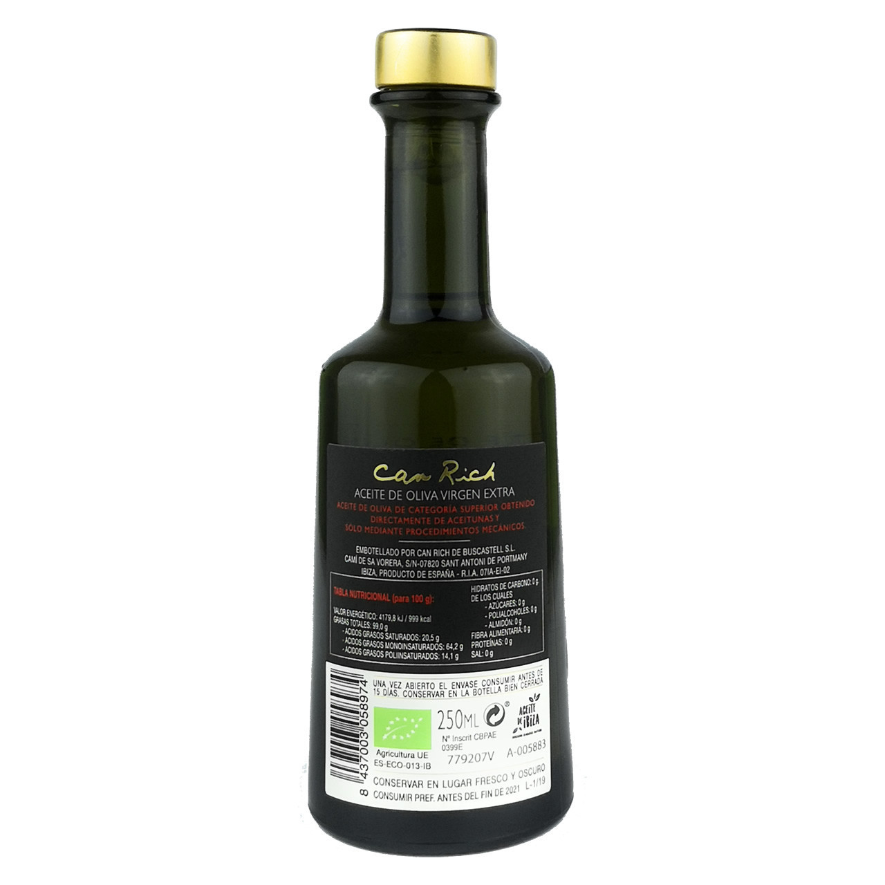 Extra Natives Bio Olivenöl (250 ml) - Can Rich Rückseite