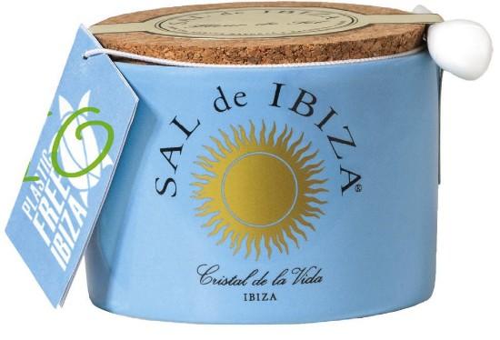 Bild von Fleur de Sel, Mar Blau, im Keramiktöpfchen 140g- Sal de Ibiza